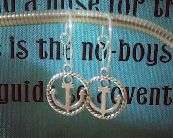Anchor Charm Hoop Earrings