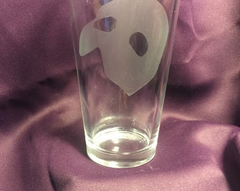 Phantom of the Opera inspired etched pint glass