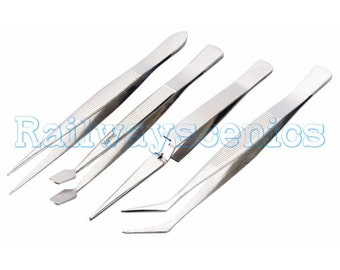 Toolzone 4pc Stainless steel tweezers set