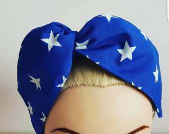 Blue Stars Pin Up Hair Tie