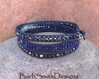 Blue Leather 3-Wrap Bracelet Dark Blue Black