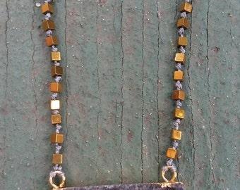 Simple Druzy Bar Necklace