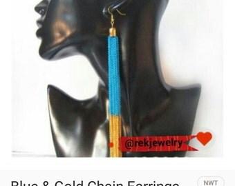 Blue & Gold Chain Earrings
