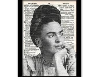 Frida Kahlo Poster, Black and white, Mexican Folk Art, Antique Dictionary Page, Frida Kahlo Portrait