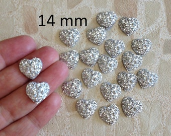 20 Silver Heart Gems,  14mm Sparkly Heart Gems, Flatback Heart Cabochon Gems, Scrapbook Embellishment, Craft Supplies