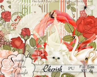 Cherish,Scrapbook,Digital, Wedding, Roses,Printable