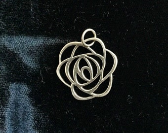 Sterling silver cutout rose pendant charm
