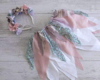 Pink Purple Fairy Skirt Flower Crown Gypsy Skirt Faerie Skirt Girls Birthday Outfit Shabby Chic Photo Prop Outfit Fairy Tutu Party Costume