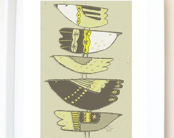 PRINT of original illustration 'Bird stack'