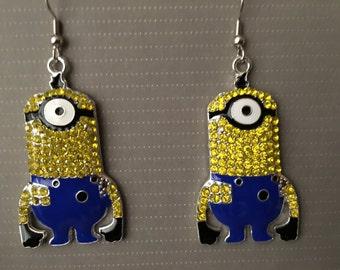 Rhinestone One Eyed Minion Earrings  F56