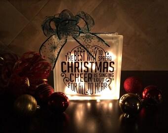Christmas Cheer Lighted Glass Block