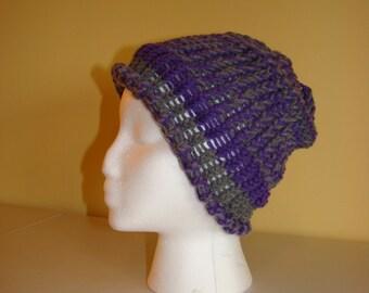 Handmade Wool Hat Gray & Purple