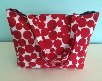 Red dotty tote bag