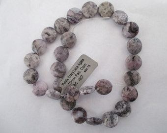 Purple Crazy Lace Agate 12mm Faceted Coin Bead Strand 14 Inches