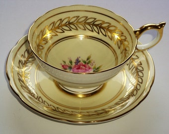 Aynsley England Savoy Pattern Tea Cup and Saucer