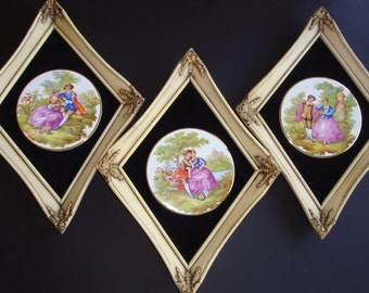 Trio of Fragonard Limoges Lovers Courting Couple Framed Porcelain Plates