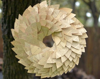 1964 Recycled Book Page Wreath