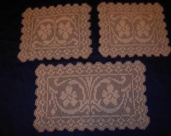 Crochet doily set, handmade doily set