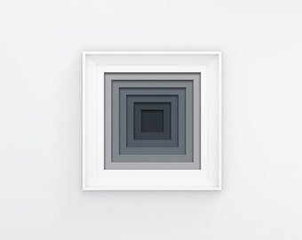 Concentric Grey Square Wall Art, Downloadable Print, Instant Download, Modern Design, Contemporary Design, Brian Byrne Design, Geometric Art