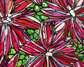 Flowers 'Pink' acrylic painting, original art