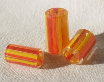 """Blown Glass Beads """"Faded Circus""""  pkg. of 10 beads"""