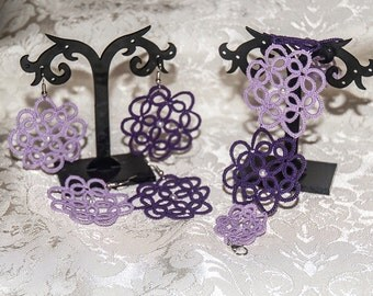 Coordinated 2 pairs diorecchini and bracelet to dark purple and light purple tatting