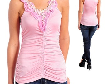 Pink Romantic Ruched Rosette Pearl Tank Top