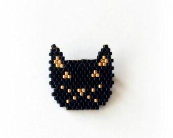Black Cat brooch woven beads Miuyki