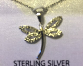 Sterling silver/diamonds dragonfly necklace