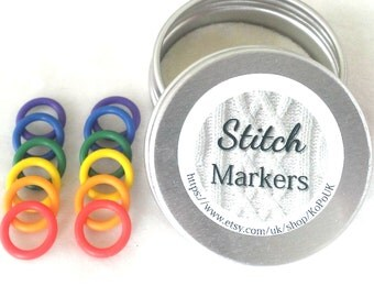 Rainbow non snag stitch markers - set of 12 snag-free freedom ring knitting stitch markers with tin