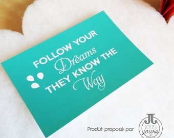 Map postcard turquoise Follow your dreams