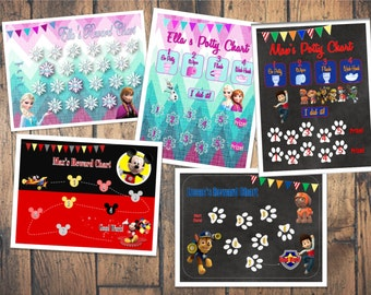 DIGITAL FILES for Potty Charts & Reward Charts -- Frozen, Mickey, Minnie, Paw Patrol, Princesses available!