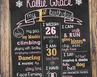 Gold & Pink Themed First Birthday Chalkboard Poster Sign-- digital file--pdf or jpeg