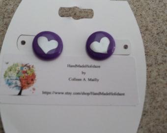 Purple Button Earrings with Silver Heart