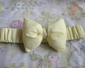 Pastel yellow elasticated bow waist belt fairy kei Lolita decora