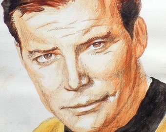 Original pen and watercolour drawing of Captain Kirk