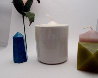 "Glass candlestick in ""ceramic handmade"" Vintage"