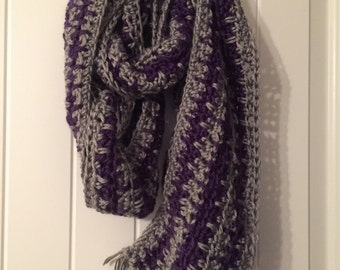 Grey and purple subway scarf