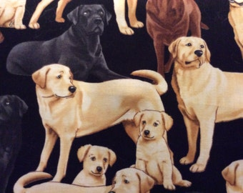 Timeless Treasure dog Labrador Reteiever dog  fabric, chocolate, black and yellow labs by the half yard
