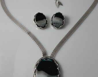 Vintage Whiting & Davis Necklace Earring Set Hematite Glass