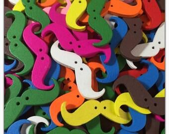 10 or 20 Mustache buttons, random mix wood buttons, novelty buttons, scrapbooking, sewing, crafts, wooden buttons moustache buttons 35 mm 1