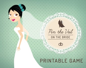 BRIDAL SHOWER GAME Pin the Veil on the Bride! Printable Kitchen Tea Game