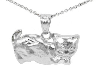 14k White Gold Cat Necklace