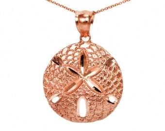 10k Rose Gold Sand Dollar Necklace