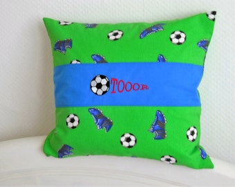Pillowcase pillow cover football embroidered with toor and ball 40 cm. x40cm.