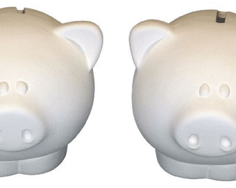 Ceramic Bisque - Ready to Paint - LiL' Piggy Banks - 2 Pack - Bank Stoppers included