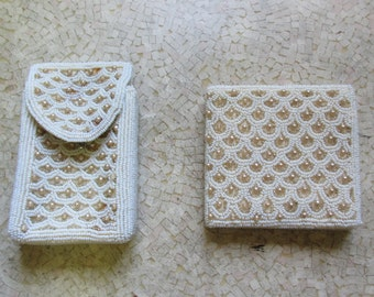 Vintage 1950s beaded wallet and cigarette case; cream and white beads
