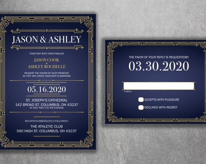 Art Deco Gold and Navy Blue Wedding Invitations Set Printed - Cheap Wedding Invitations, Affordable Wedding Invitations, Elegant, RSVP, 50's