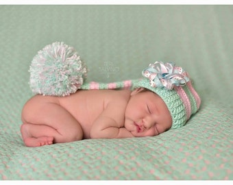 Crochet Elf hat. Photo props. Crochet girl Elf hat. Pink and mint Elf hat