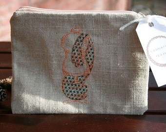Embroidered with Dressform Zipper Pouch